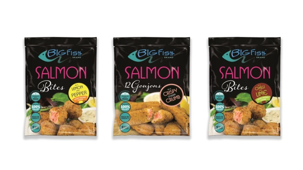 A range of breaded salmon bites and goujons