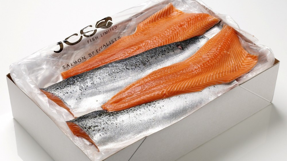 Salmon cut and portioned to order